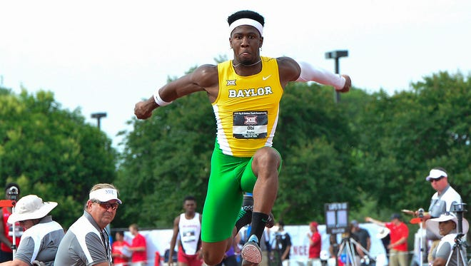 Baylor's Felix Obi, competes in the Men's Triple Jump at the 2016 Big 12 Track and Field Championship on May 15, 2016 in Ft. Worth at the Lowdon Track and Field Complex on the TCU campus