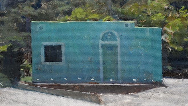 """Artist Timothy Rees will discuss his 100 works depicting the colorful, ramshackle housing of Miami. Pictured is """"Matching Casita."""""""