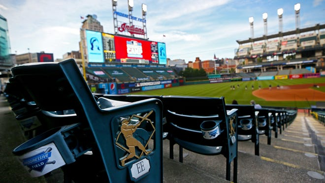 The seats along the third baseline were empty before an exhibition game between Cleveland and the Pittsburgh Pirates at Progressive Field, July 20, 2020. Last year's opening day was July 24 versus the Kansas City Royals, as is Monday's home opener.