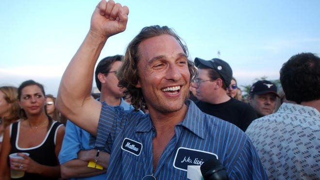 "Matthew McConaughey partied with cast and fans at the 10th anniversary screening of ""Dazed and Confused"" at Walter Long Park in 2003."