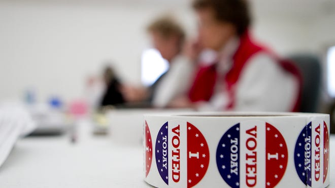 """""""I Voted"""" stickers are on display at town of Marshfield Hall, which is a polling place for the village of Hewitt and the town of Marshfield."""