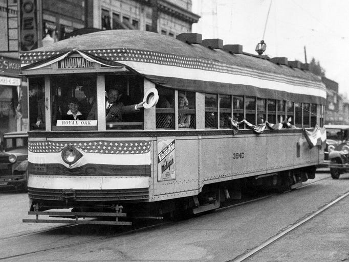 This Woodward streetcar was destined for Royal Oak