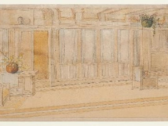 "George Mann Niedecken  ""Living Room for the Frederick Robie Residence,"" ca. 1909, pencil and watercolor on paper, Milwaukee Art Museum, gift of Mr. and Mrs. Robert L. Jacobson."