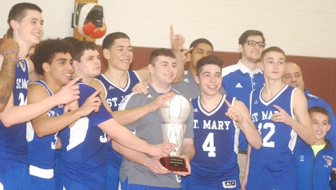 Seventh-seeded St. Mary won the first NJIC boys basketball tournament title over top-seeded Queen of Peace, 68-63.