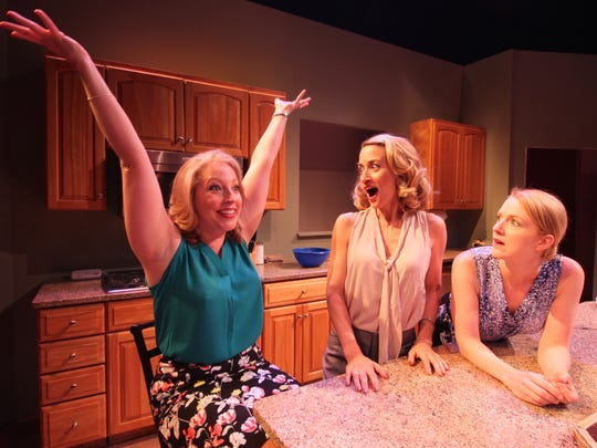 ":  Kathleen Clancy (Molly), Heidi Weeks (Nicky), Suzanne Kimball (Debra) star in the comedy ""The Smell of the Kill"" running Aug. 19 – Sept. 11 at Chenango River Theatre."