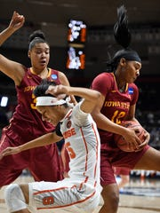 Iowa State's Seanna Johnson, right pulls down a rebound