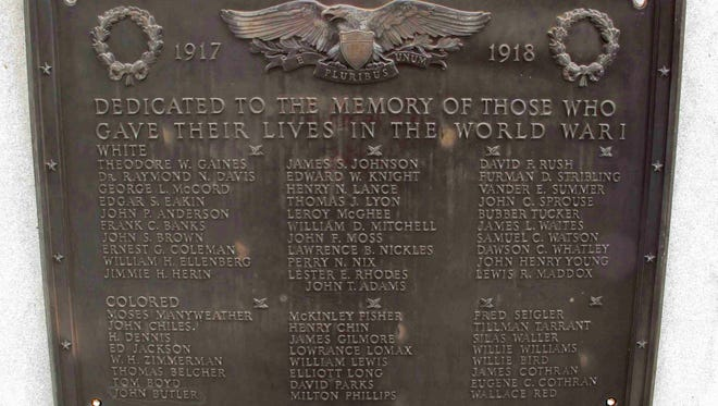 """FILE - This photo taken Jan. 22, 2015 shows a plaque honoring World War I soldiers on Greenwood County memorial.A group of American Legion members in Greenwood is suing South Carolina, Speaker Jay Lucas and other officials because the legion can't change plaques on a war memorial that separate the dead from World Wars I and II into lists of """"colored"""" and """"white"""" without a two-thirds vote in the legislature because of the 2000 Heritage Act.  (AP Photo/Jeffrey Collins, File)"""