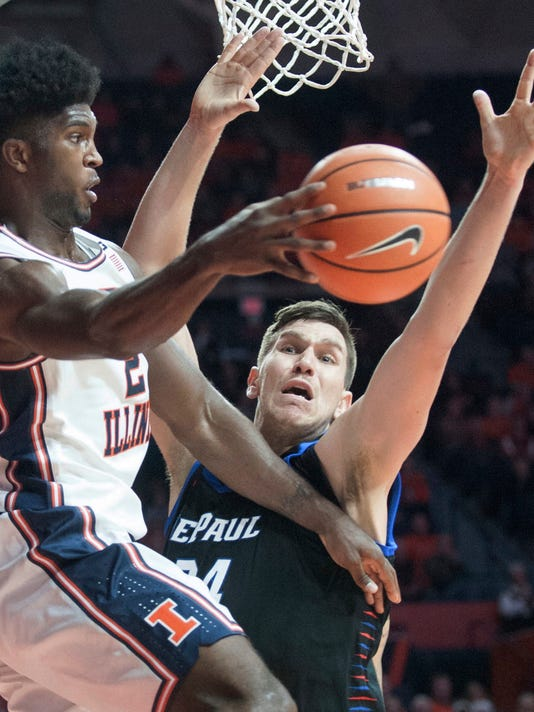Illinois forward Kipper Nichols (2) passes the ball as DePaul center Marin Maric (34) defends during an NCAA college basketball game Friday, Nov. 17, 2017, in Champaign, Ill. (Robin Scholz/The News-Gazette via AP)