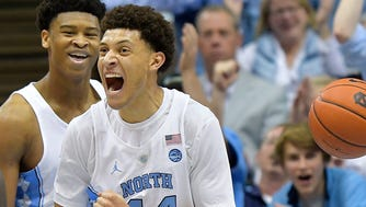 CHAPEL HILL, NC - FEBRUARY 18:  Justin Jackson #44 of the North Carolina Tar Heels reacts after drawing a foul 