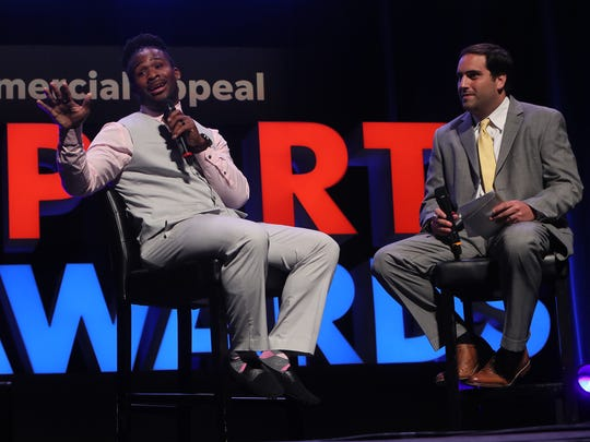Sports writer Mark Giannotto interviews NFL running back DeAngelo Williams during The Commercial Appeal's Sports Awards on June 5 at the Orpheum Theatre.