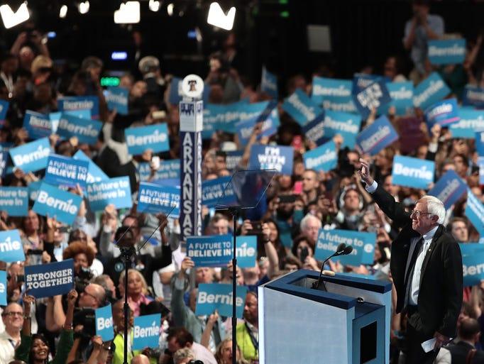 Sen. Bernie Sanders, I-Vt., acknowledges the crowd