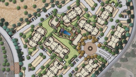 An area map depicts the location of the proposed Gilbert Civic Center apartments, situated between Town Hall and the new Banner Health Center.