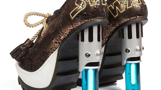 """The """"Star Wars"""" lightsaber shoes from British label Irregular Choice have USB-chargeable heels that flash and make lightsaber sound effects while you walk. The shoes cost 210 pounds (about $315)."""