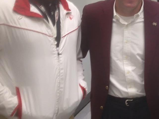 Emmit Gooden poses for a picture with Mississippi State head coach Dan Mullen. Mullen was in Brownsville on Wednesday recruiting the Tomcats' senior defensive lineman, whom the Bulldogs offered a scholarship to during his junior year.