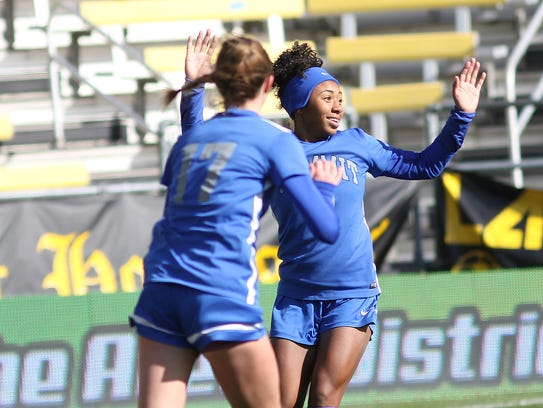 Summit's Ravin Alexander  reacts after scoring a goal