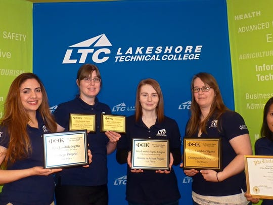 The LTC Phi Theta Kappa Team pose with their awards. From left is Amanda Fernandez, Grace Janke, Sara DesArmo, Sarah Mueller and Heather Wiederhold. Not pictured is Jennifer Bink.