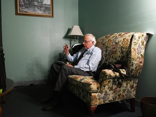 Democratic presidential candidate Sen. Bernie Sanders, I-Vt., prepares to speak for a video to supporters last month at Polaris Mediaworks in Burlington.