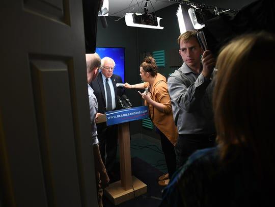 Presidential candidate, Bernie Sanders prepares to