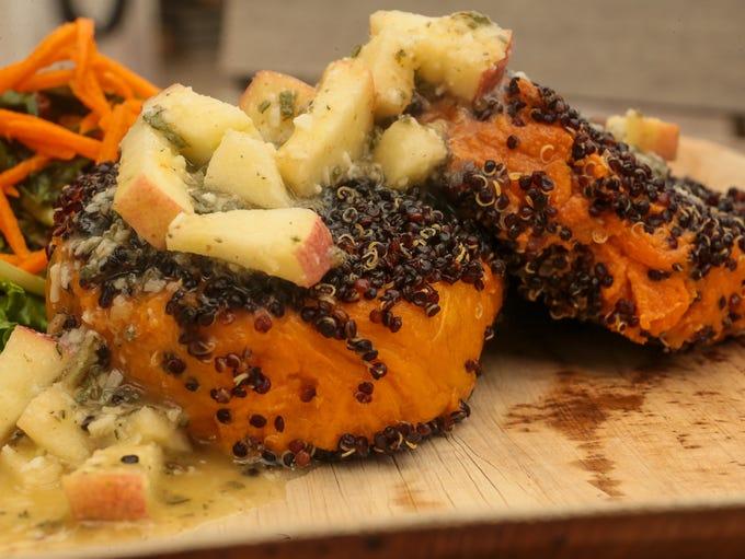 Black Quinoa Crusted Sweet Potato with apple walnut