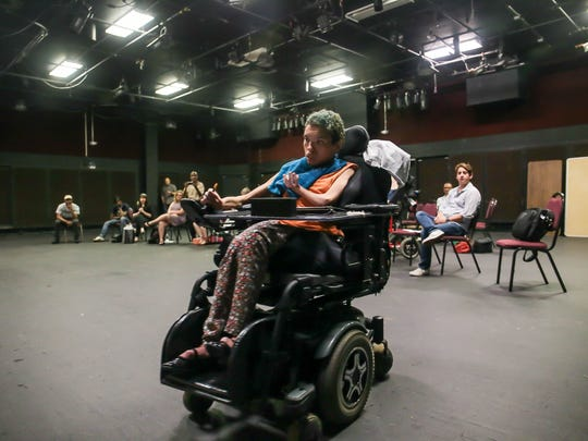 Natalia Manning of Hillsborough dances in her wheelchair during rehearsal at RVCC's Welpe Theatre on July 27, 2016. Clients from Matheny Medical and Educational Center in Peapack-Gladstone, as part of MathenyÕs Arts Access Program, are participating in a theatre program at RVCC in Branchburg that will result in an August 10 performance at RVCC.