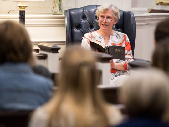 Susan Martin, a First Reader, reads from Science and Health with Key to the Scriptures during a service at the Nashville Christian Science Church in Nashville, Tenn., Wednesday, Sept. 13, 2017.