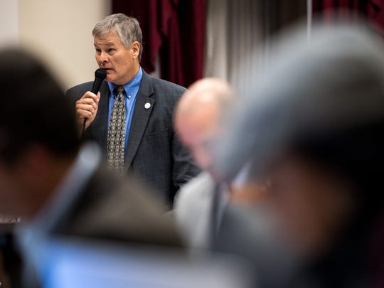 Metro Councilman Russ Pulley speaks before a vote on a MLS stadium plan during a Metro Council meeting at the Metro Courthouse in Nashville, Tenn., Tuesday, Nov. 7, 2017.
