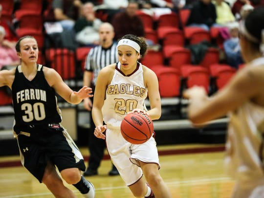 Former Waynesboro star Brie Moore is averaging a team-high 16.1 points per game, while also pulling down 5.1 rebounds a game for Bridgewater College.