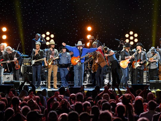 Charlie Daniels takes the stage with other performers from the event as the concert closes during the Charlie Daniels Volunteer Jam XX: A Tribute to Charlie at Bridgestone Arena in Nashville, Tenn., Thursday, March 8, 2018.