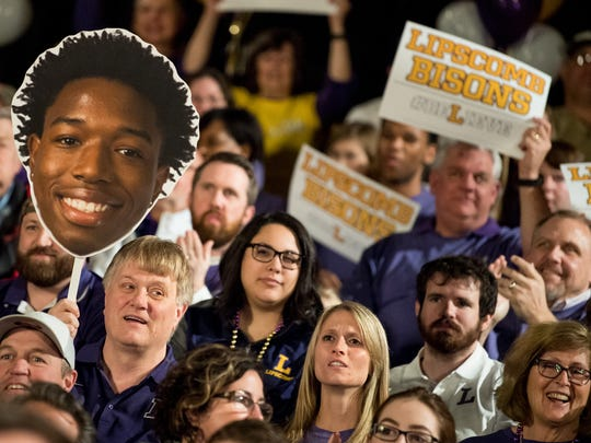 Lipscomb basketball fans cheer before learning the team will play North Carolina in the NCAA tournament at Allen Arena, Sunday, March 11, 2018, in Nashville, Tenn.