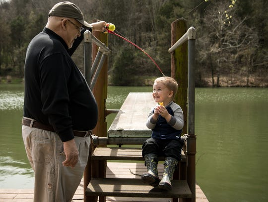 Ben Jumper spends time fishing with his grandson Emerson, 3.