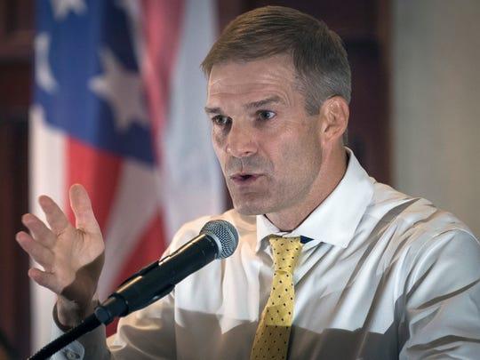 Rep. Jim Jordan, R-Ohio, speaks to supporters in Hebron, Ky., on Aug 11, 2017.