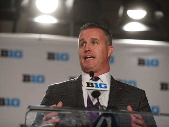 Northwestern head coach Pat Fitzgerald speaks at the Big Ten Conference NCAA college football Media Days in Chicago, Monday, July 23, 2018. (AP Photo/Annie Rice)