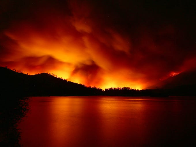 Carr Fire at Whiskeytown on Wednesday night and early