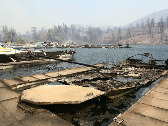 Oak Bottom Marina is seen the morning of July 26, 2018, after the Carr Fire burned through Whiskeytown National Recreation Area, destroying 40 boats in the water. (Hung T. Vu/Special to the Record Searchlight)