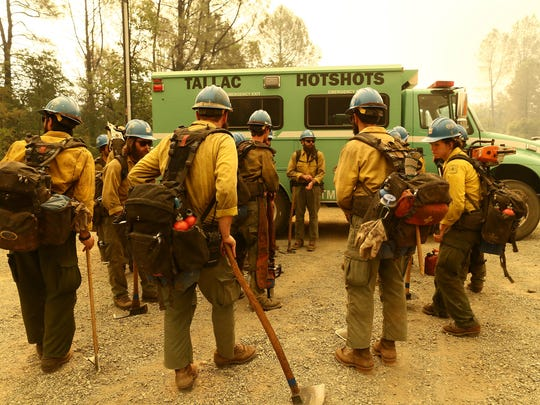 Carr Fire - Cal Fire and Fire Depts. in the northern  California get together to fire the Carr Fire on Thursday morning.  The fire continues to move east from Old Shasta all the way to Iron Mountain Road this morning. (Special to the Record Searchlight by photo by Hung T. Vu)