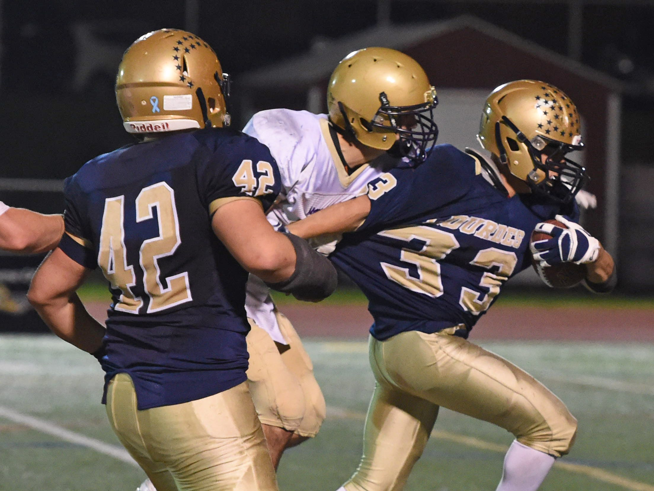 Action from the Class A semi final between Lourdes and Amsterdam at Dietz Stadium.