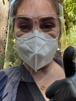 Seraphina Caliguire is working as a makeup artist on a movie being filmed in Massachusetts, where safety precautions are in place to keep cast and crew safe.