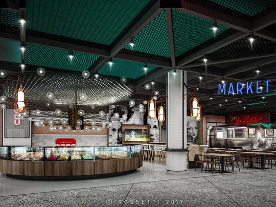 This is a rendering showing a multimillion-dollar renovation that is currently underway to completely transform the former Market District into Monroe Market. The new dining destination will feature six new fast-casual eateries in a unique, contemporary setting.