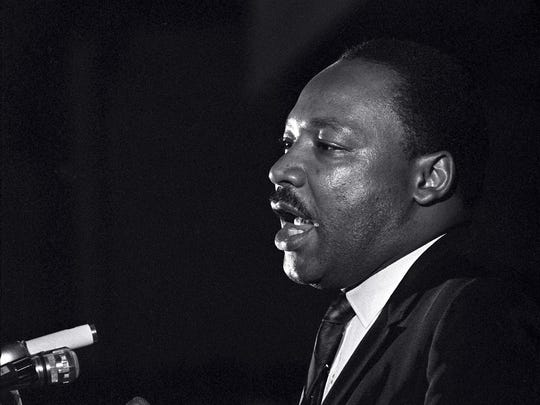The Rev. Martin Luther King Jr.'s final appearance on April 3, 1968, at the Mason Temple in Memphis, Tenn.