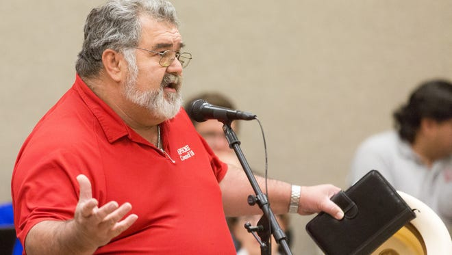 Steve Griego, with AFSCME, asks board members to approve a possible 6 percent tuition-and-fee increase for students during a New Mexico State University board of Regents on Monday, April 3, 2017.