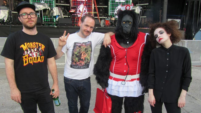 """Kenosha man Rich Viola, a massive fan of the Scottish synthpop band Chvrches, is known as the """"Chvrches Gorilla"""" on Twitter for bring an ape suit to shows. He's pictured here dressed as a """"sexy nurse gorilla"""" at a Chvrches Halloween show in Florida last year."""