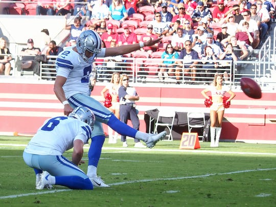 Aug 10, 2019; Santa Clara, CA, USA; Dallas Cowboys kicker Brett Maher (2) scores a field goal with a hold by punter Chris Jones (6) during the first quarter against the San Francisco 49ers at LeviÕs Stadium. Mandatory Credit: Kelley L Cox-USA TODAY Sports
