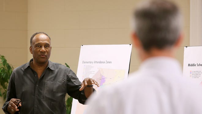 Morris Merriweather, seen in this file photo from 2015, makes a presentation during a Vision 2020 public forum. Merriweather was elected to the JMCSS School Board in August.