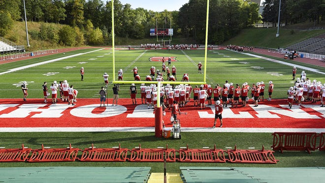 The St. John's football team practices this week at Clemens Stadium in preparation for Saturday's big matchup against St. Thomas.