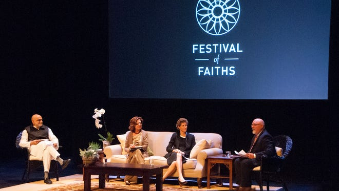 A panel on Pathways to Nonviolence: Media & the Public Trust featured Rajiv Mehrotra, Elna Boesak and Molly Bingham at the Festival of Faiths.