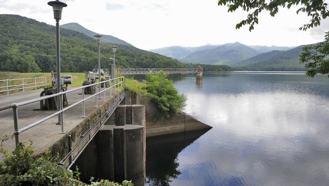 The city's North Fork Reservoir located in Black Mountain, one of Asheville's primary drinking water sources.