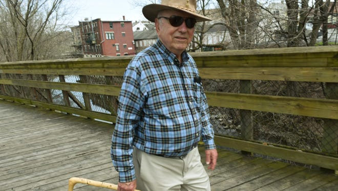Jerry Edwards, of Chambersburg, walks along the Rails to Trails on Monday, April 3, 2017. for daily exercise. Southcentral Pennsylvania is healthier thans most area of the state despite high rates of inactivity and obesity, according to an assessment by the University of Wisconsin Population Health Institute.