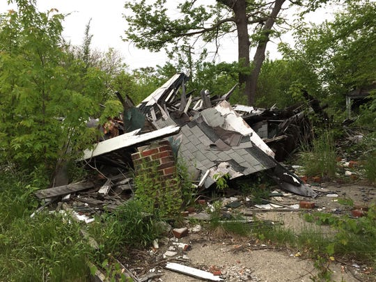 Someone demolished a house on Westphalia in Detroit and left this pile of debris, photographed on May 23, 2017. Patricia Kobylski  has been complaining to the City of Detroit for two years to remove the rubble.