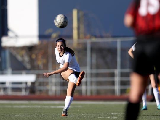 U-Prep's Haley Bramante fires the ball at the goal