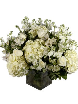 White Satin, European style floral arrangement